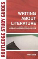 Writing about Literature: Essay and Translation Skills for University Students of English and Foreign Literature