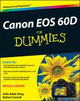 Canon EOS 60D For Dummies (For Dummies (Lifestyles Paperback))