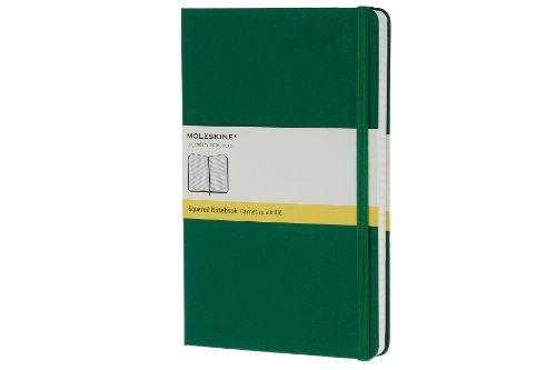 Moleskine Classic Notebook, Large, Squared, Oxide Green, Hard Cover (5 x 8.25) - Moleskine
