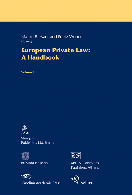 European Private Law: A Handbook -Volume 1