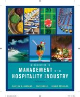 Introduction to Management in the Hospitality Industry