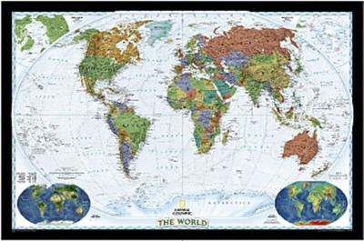 National Geographic Map The World, Decorator Line, enlarged, Planokarte