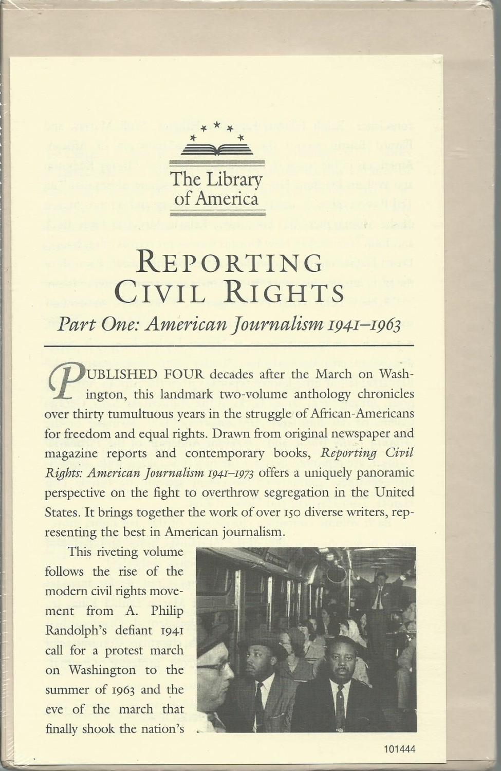Reporting Civil Rights, Part One: American Journalism 1941-1963 (Library of America) - Carson, Clayborne, Ph.D. (Compiled by), and Garrow, David J, Professor (Compiled by), and Kovach, Bill (Compiled by)